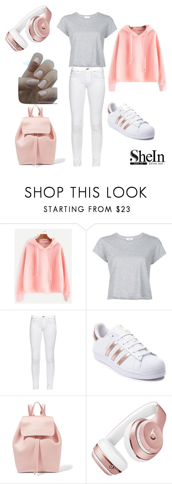 """Pink hoodie"" by fashion-queen25 ❤ liked on Polyvore featuring WithChic, RE/DONE, rag & bone, adidas, Mansur Gavriel and Beats by Dr. Dre"