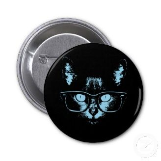 Popular Cool Pin Buttons. cool cat with nerd glasses, blue-toned