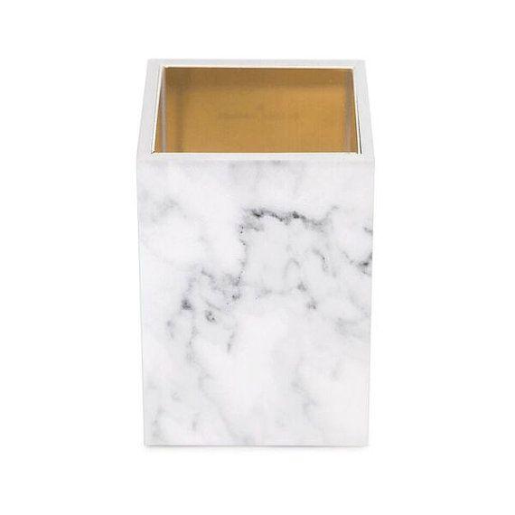 Acrylic white marble pencil cup with four vibrant golden plates inside. A Rachel George original! 4.5 h x 3 w x 3 d
