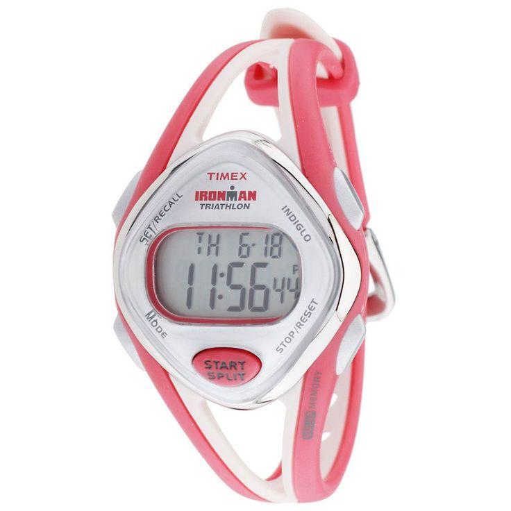 Timex T5K787 Women's Ironman Triathlon Indiglo 50-Lap Grey Digital Dial Orange & Beige Strap Chronograph Watch