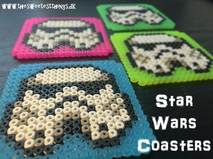 Perler Star Wars coasters - both in English and in Danish. + a template to follow