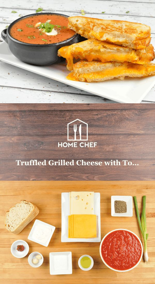 Imagine you're enjoying the very last bite of a grilled cheese sandwich epically enhanced with the heady aroma of truffle oil, when you discover there is still some tomato soup left. Dunk-able basil-spiked soup, just SITTING there. Well, the top minds at Home Chef have a solution - extra grilled cheese! That extra half sandwich per person will carry you though the remaining soup. Our long national nightmare is over - thanks, extra sandwich!
