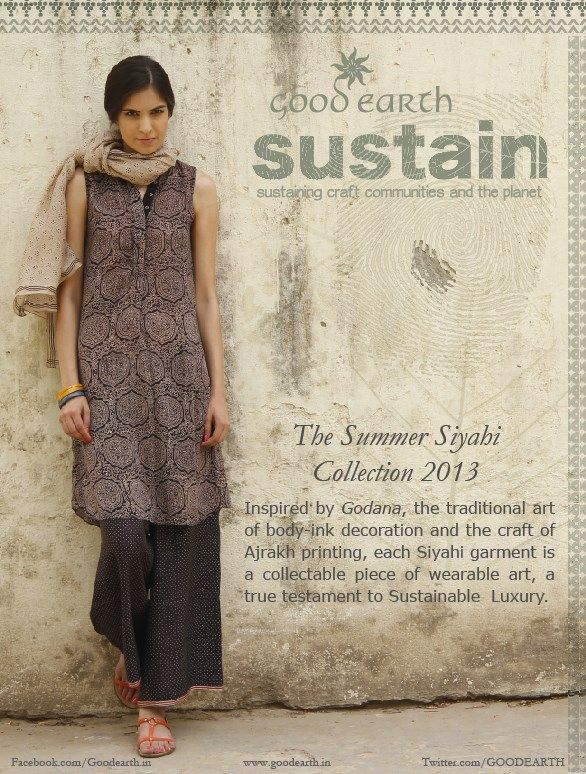From Good Earth in India: Inspired by Godana, the traditional art of body-ink decoration and the craft of Ajrakh printing, each Siyahi garment is a collectable piece of wearable art, a true testament to Sustainable Luxury.