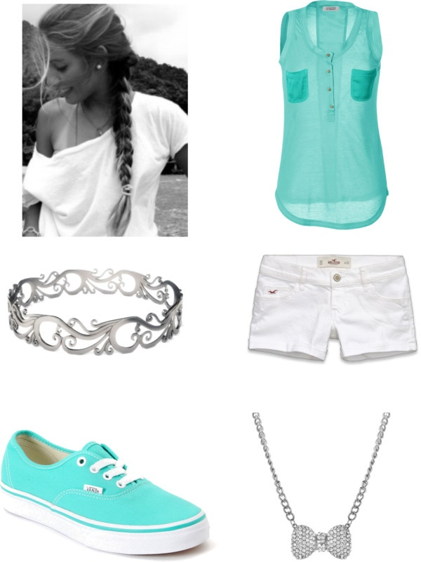 """Sea Green and White Hollister Outfit"" by princessimperfectionist ❤ liked on Polyvore"