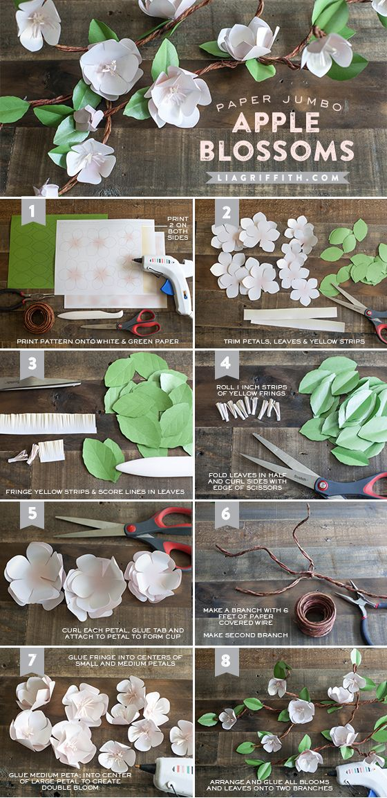 DIY handmade paper apple blossom branch