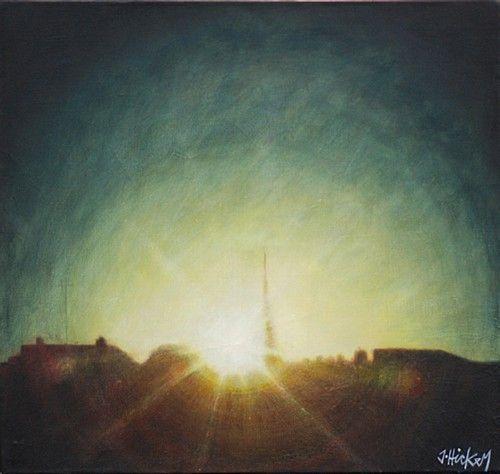 "Joby Hickey ""Dawn Breaking Over Dublin"" #irishart #painting #dawn #dublin #street #urban #photorealism #edwardhopper #jobyhickey #dukestreetgallery"