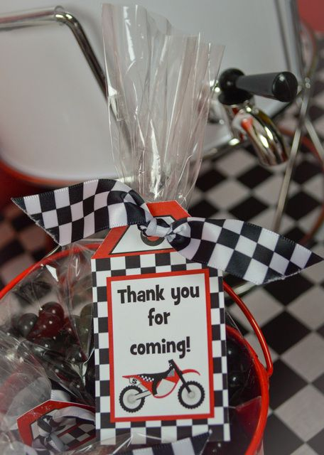 Awesome favors at a  Dirt Bike Birthday Party!  See more party ideas at CatchMyParty.com!