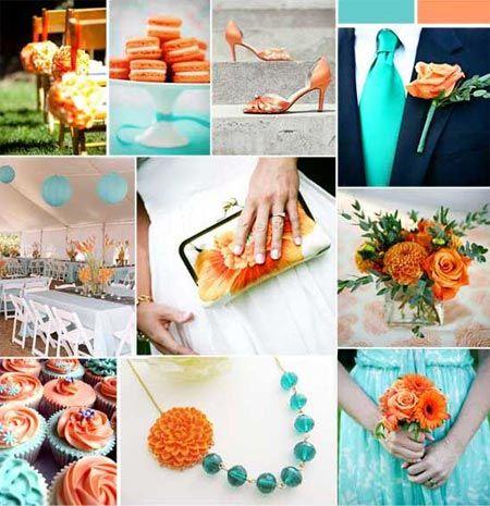 aqua and orange wedding, great color combo.