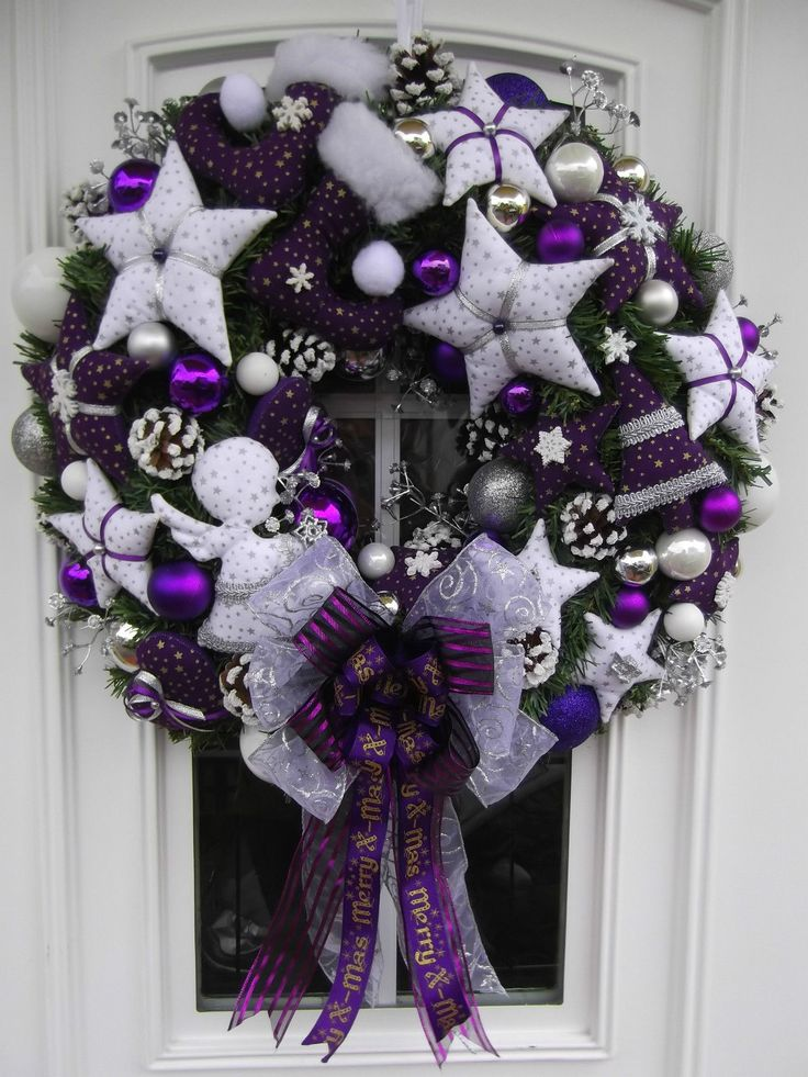 Türkranz Weihnachten Weihnachtskranz Lila-Weiß Tilda-Art | eBay