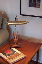 mid century modern danish modern gold tone wood lyre harp desk piano lamp light