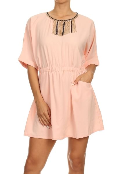 Solid flare dress with pockets, chain necklace, exposed zipper, and elastic waist. 100% POLYESTER