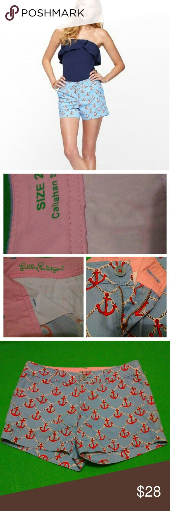 Lilly Pulitzer Callahan Short Anchor print Never worn Size 2 100% cotton Light blue color Lilly Pulitzer Shorts