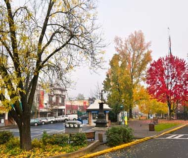 Ashland, OR This artsy town in southern Oregon—a few hours south of Portland—has galleries, ethnic restaurants, and day spas that utilize the Lithia Springs mineral waters. It's a good combination with the amazing fall foliage, which peaks in mid-October. Hike or mountain bike in the surrounding hills to really appreciate the changing scenery.  Fall Color Hotel: Chanticleer Inn is a six-room bed-and-breakfast with a view of the Cascades. It has a garden, koi pond, and hammock. Doubles from…