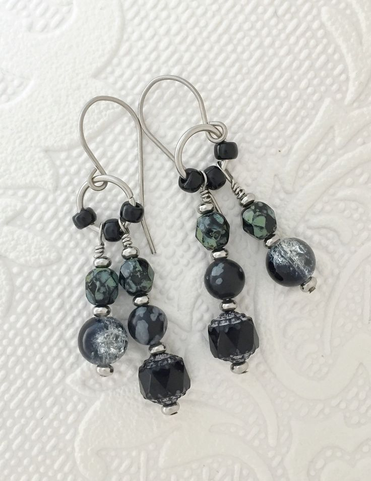 Black and grey drop earrings, boho style, with stainless steel