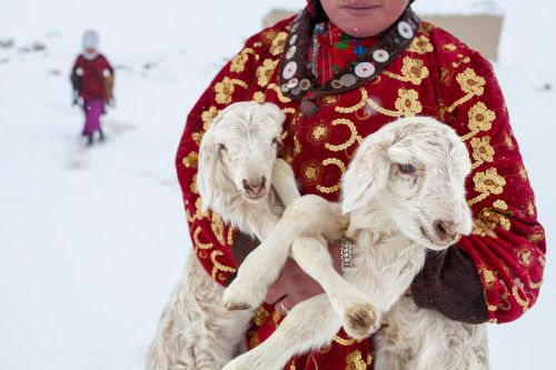 A Kyrgyz girl carries a pair of lambs to be reunited with their mothers for the night, Wakhan, Afghanistan, 2011.