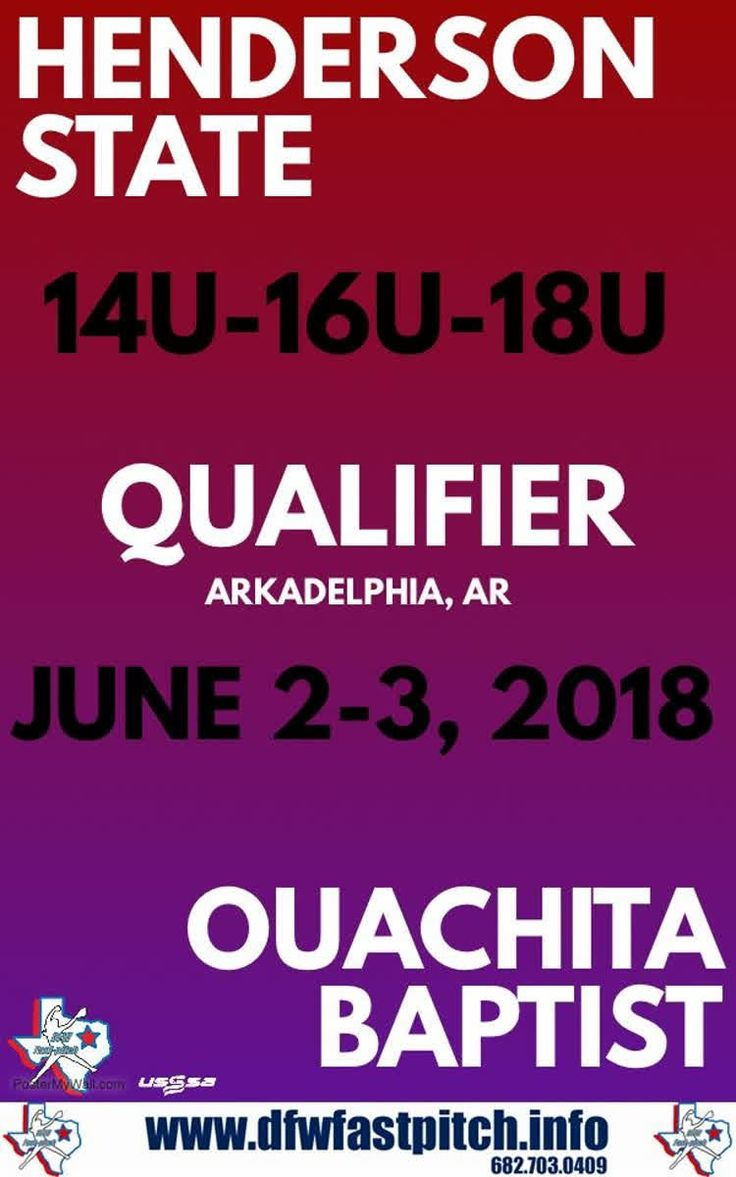 We will be headed to Arkadelphia, Arkansas this year for the Henderson State & Ouachita Baptist Qualifier!!!! This event is open to 14u-18u divisions!!! http://qoo.ly/kv58a