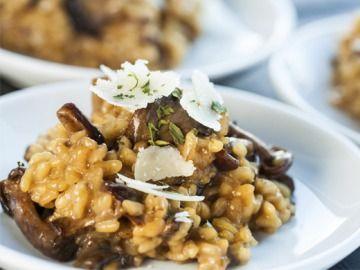 Hříbkové risotto a parmazánovou hoblinou