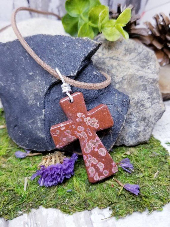 Red Stone Cross Pendant On Leather Cord Religious Necklace For Christian Wire Wrapped Agate Birthday Gift Friend Summer Time Jewelry