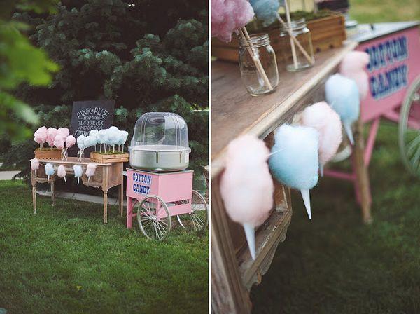 Machine à #barbeapapa et décoration pour réception de mariage en plein air