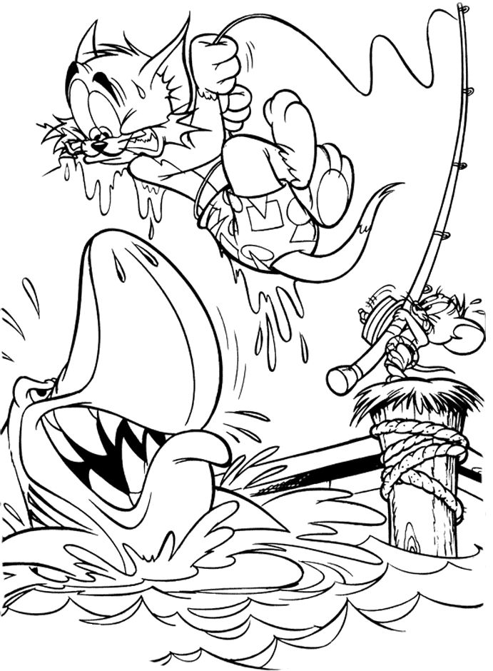 jerry scare tom on big fish coloring pages tom and jerry