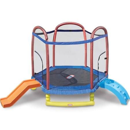 Little Tikes 7 Feet Climb 'n Slide Trampoline with Enclosure