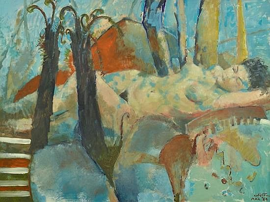 CLIFTON PUGH (1924-1990) Sleeping Nude in a Forest Landscape 1984 oil on composition board
