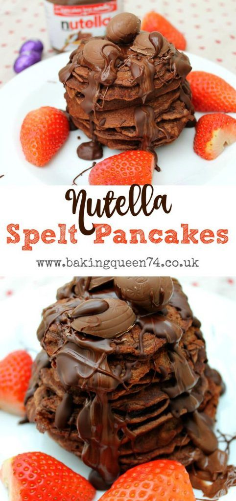 Nutella spelt pancakes, easy to make with Nutella in the batter!