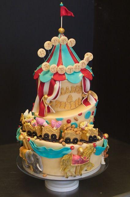 elaborate child's birthday cake with circus theme. Studio Cake Design out of Menlo Park, California.