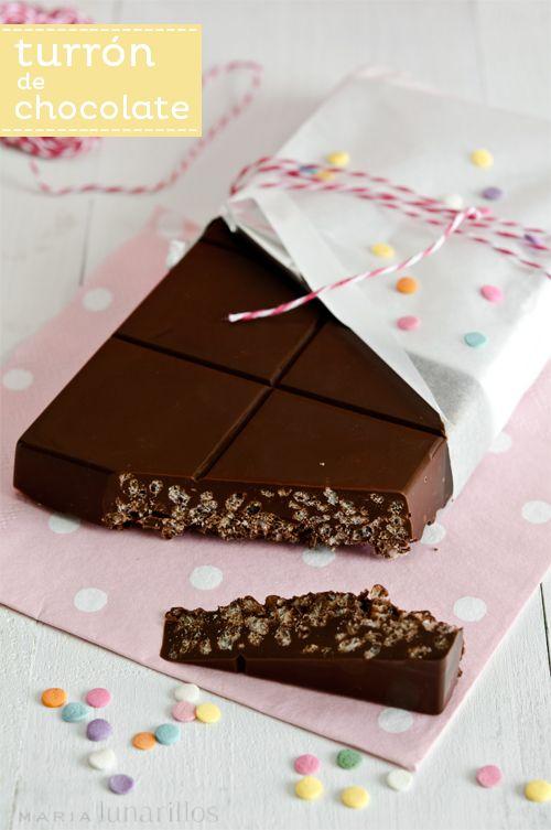 *****************Turrón de chocolate tipo Suchard. MariaLunarillos. Un clásico, lo hacen los niños. Buena idea para regalar en Navidad. Dic.´2013