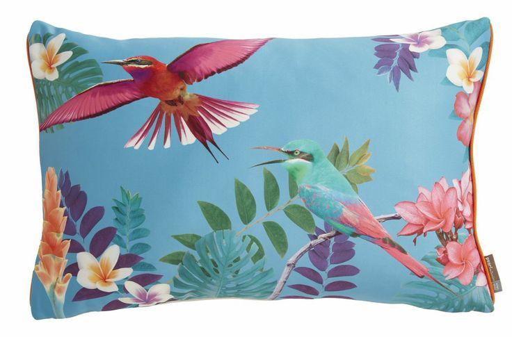 coussin, colibri, colibri pearl, home spirit, imprimé oiseaux, birds, bleu