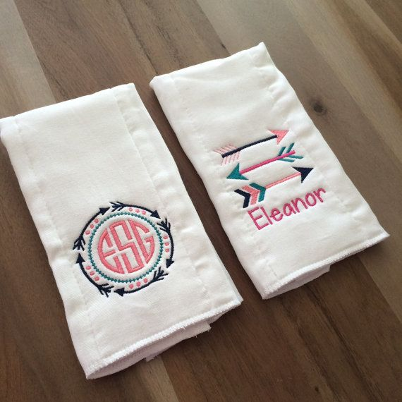 Tribal Arrows Monogram Burp Cloth Set : name by LittleLettersShop