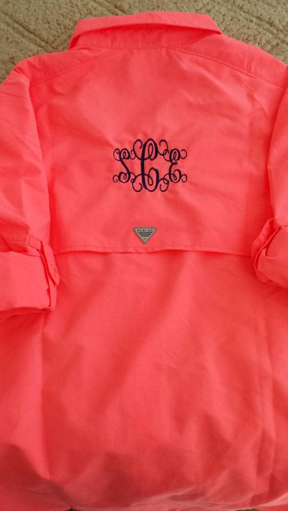 Monogrammed columbia fishing shirt etsy listing at for Monogram fishing shirt