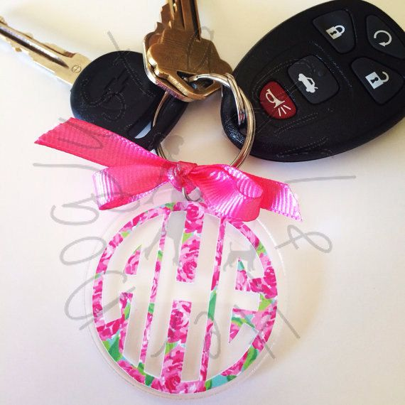 The most adorable keychain personalized with your monogram in Lilly Pulitzer print! They make a perfect gift for a friend, coworker, mom,