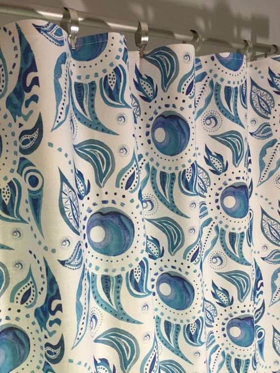 Blue Paisley Valance Flat Curtain Watercolor by PaisleyLadyDesigns