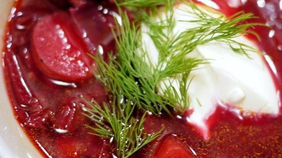 recipe for the classic beet soup. It's as authentic as it gets. It can be made vegetarian by omitting the sausage--and vegan by omitting the sour cream as well.