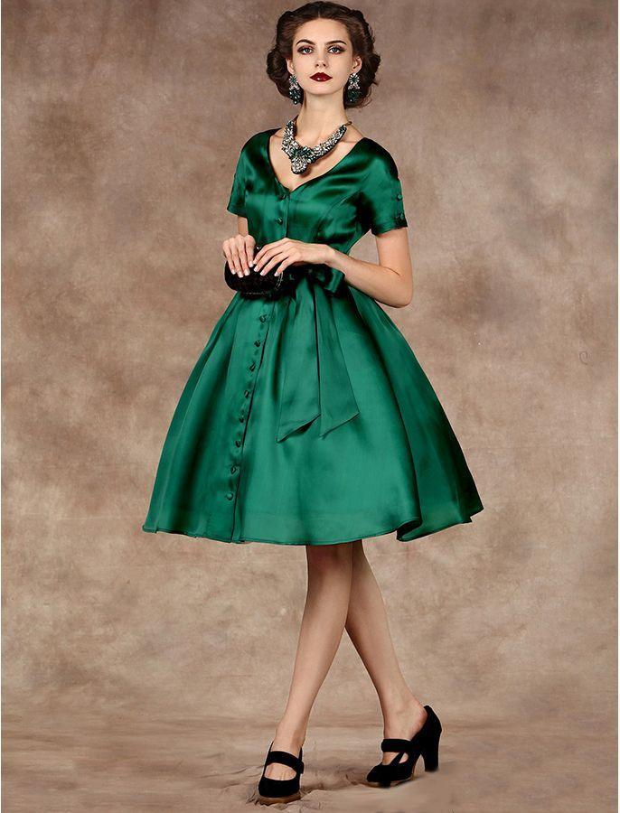 Vintage Style 1950s Button Up Dress