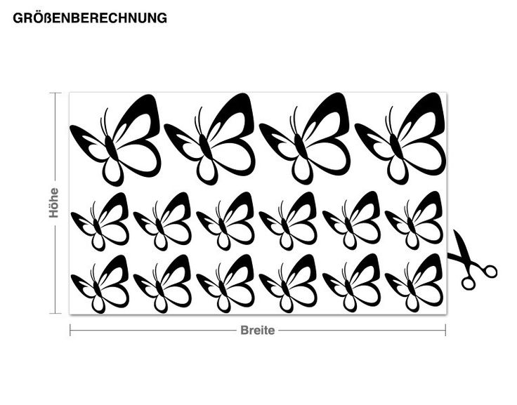 Spectacular Wandtattoo Schmetterlingsschwarm Set