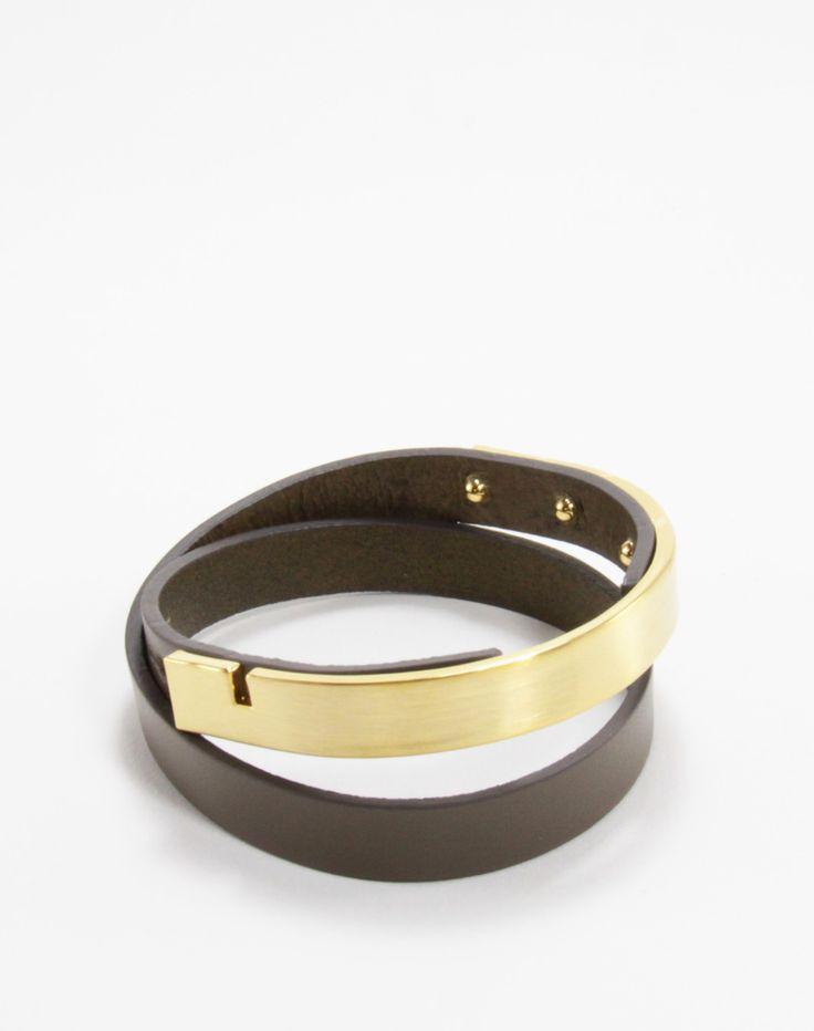 BENATRA - Serene Leather Wrap Bracelet Taupe Content:  Genuine Italian Leather & Brass