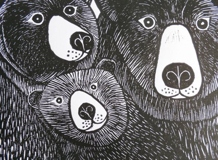 Bear Family, by Kat Lendacka, Original Linocut Print, Signed Open Edition, Free Postage in UK, Hand Pulled, Printmaking, by KatLendacka on Etsy