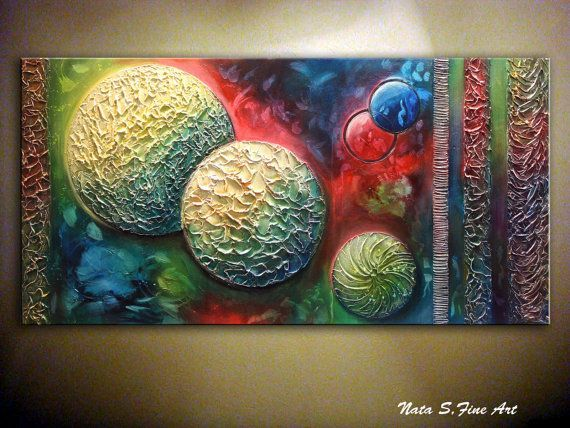 "LARGE Abstract Painting.Modern Art.Fantasy Textured Original Art.Contemporary DECOR.Modern Wall Decor.Large Artwork  48""x 24""  - by Nata S."