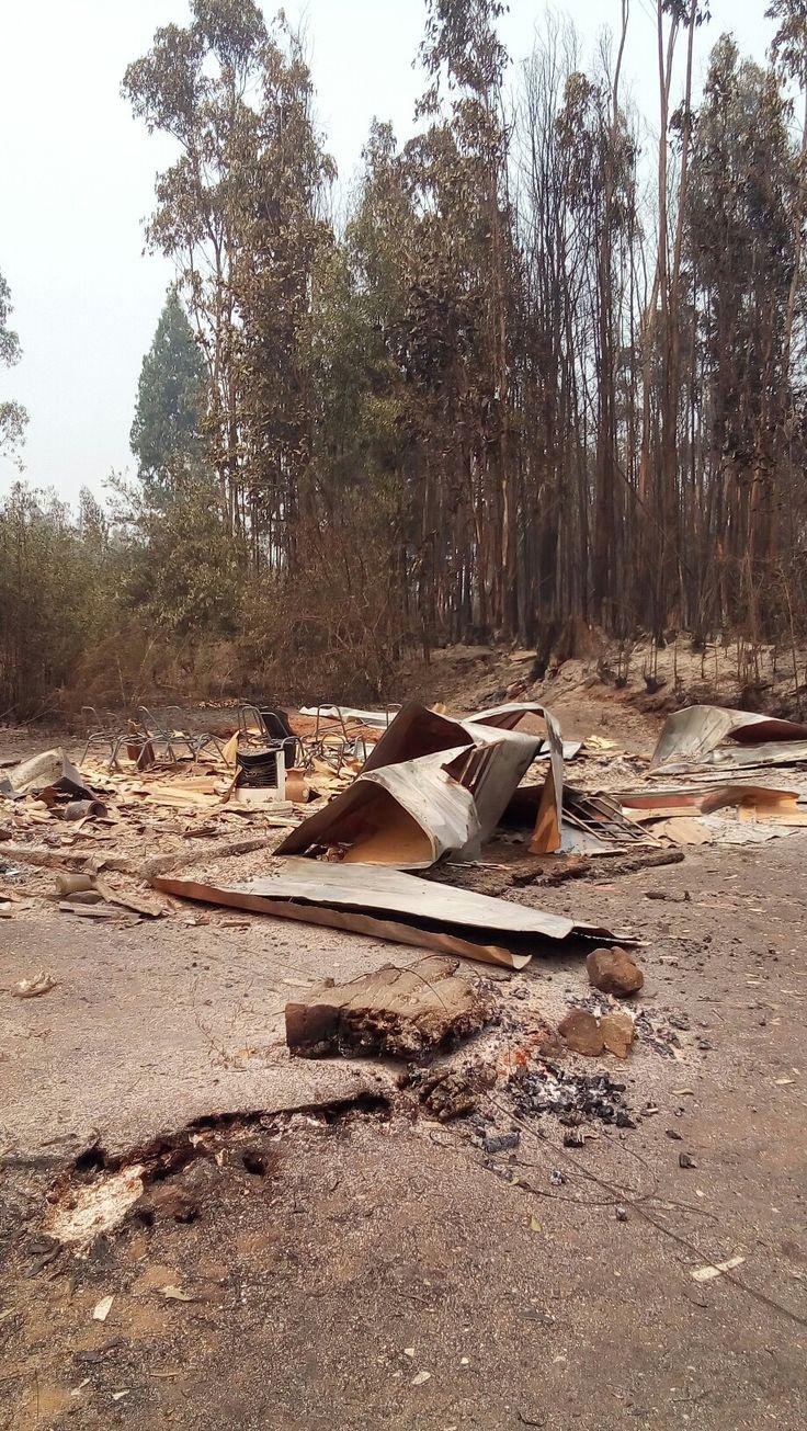 Capilla de los Quillayes consumida por incendio, ciudad de Tomé 2017