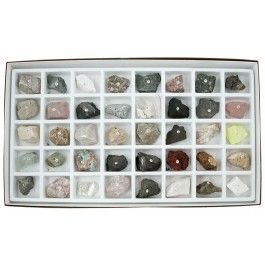 """The Washington School Collection is a very popular rock and mineral collection used in many schools around the country. It contains 40 1.5""""-2"""" number-coded specimens that are perfect for hands-on learning.   Washington School Collection specimens include examples of igneous, sedimentary, and metamorphic rocks, rock forming minerals, ore forming minerals, and industrial minerals. A cardboard storage box with a compartmented tray and complete Rocks & Minerals Study Guide are included with the…"""