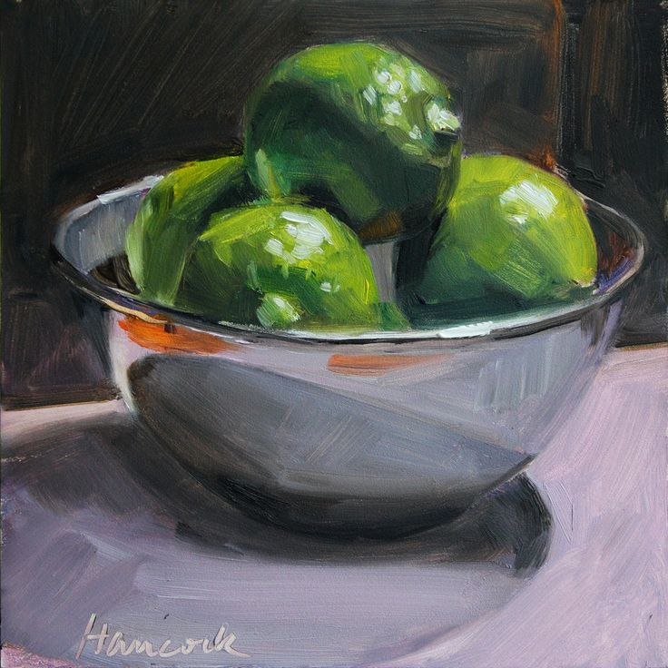 Top Lit Limes in a Silver Bowl original fine art by Gretchen Hancock