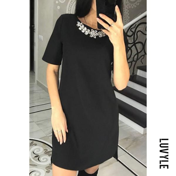 a83629678 Round Neck Asymmetric Hem Plain Short Sleeve Casual Dresses