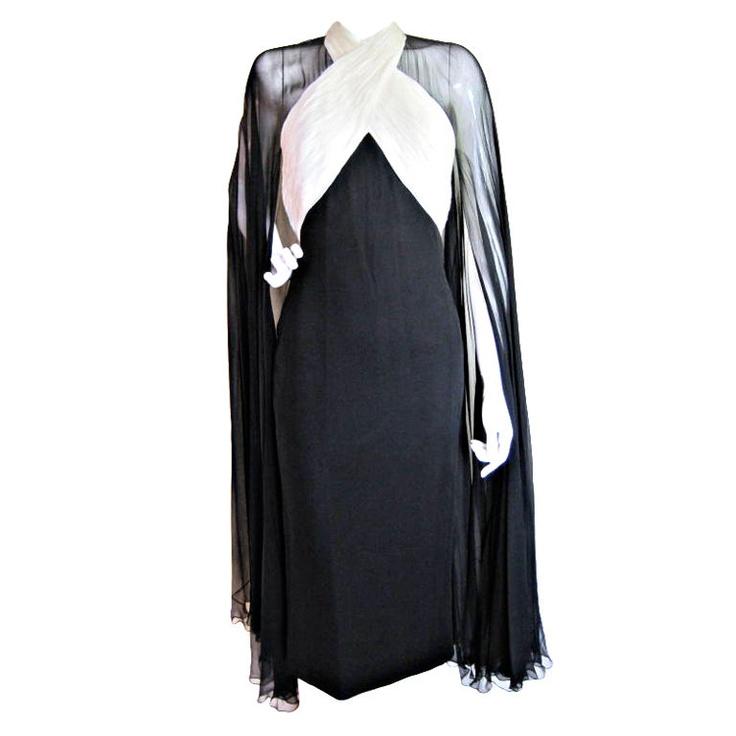 Oooooh a upper arm sneaky cover up, thank-you!   Murray Arbeid Chiffon Cocktail Dress 1stdibs.com