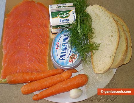 Морковный чизкейк с копчёным лососем