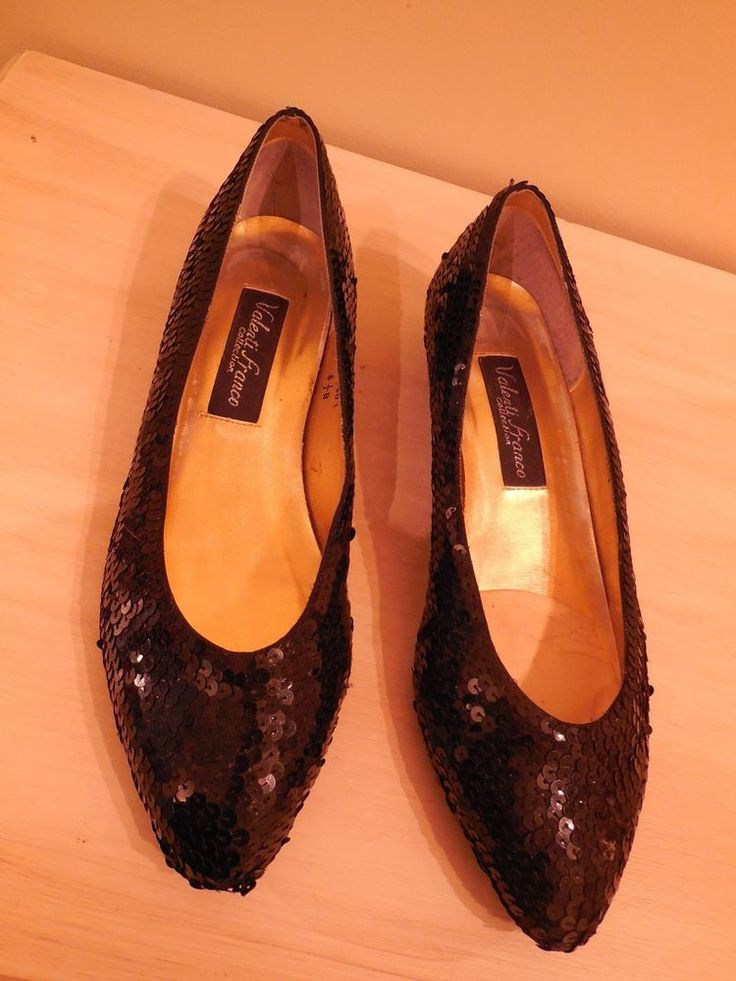 B WOMENS BLACK SEQUIN FORMAL PUMPS SHOES VALENTI FRANCO 8.5M #ValentiFranco…