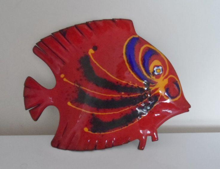 Retro Laurana Enameled Copper Fish, Red by Bastanalli by WoodstockStudio on Etsy