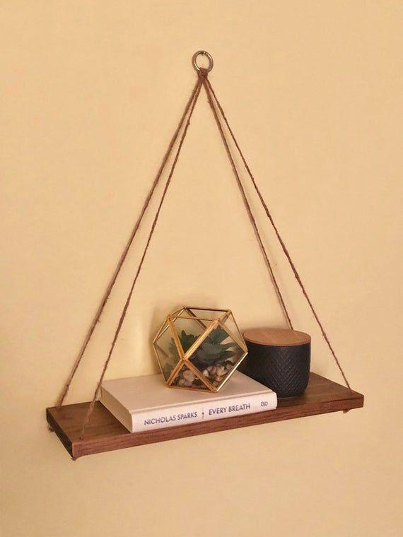 Hanging Shelf Set of 2 – Swing Shelf – Floating Shelf – Wooden Shelf – Suspended Shelf