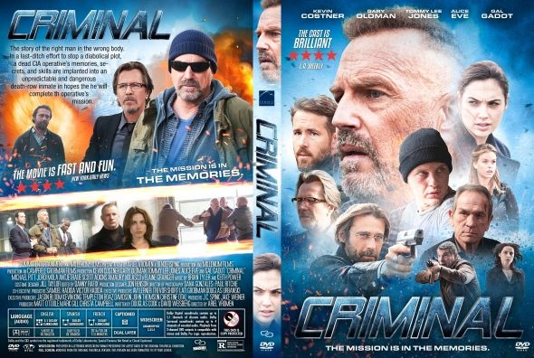 Criminal  Latino Inglés  DVD9  Criminal DVD9 | DVD FULL | NTSC | VIDEO_TS | 7.07 GB | Audio: Español Latino 5.1 Inglés 5.1 | Subtítulos: Español Latino Inglés | Menú: Si | Extras: Si  Título original: Criminal Año: 2016 Duración: 113 min. País: Reino Unido Director: Ariel Vromen Guión: Douglas Cook David Weisberg Música: Keith Power Brian Tyler Fotografía: Dana Gonzales Reparto: Kevin Costner Gary Oldman Tommy Lee Jones Ryan Reynolds Alice Eve Gal Gadot Michael Pitt Antje Traue Scott Adkins…